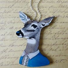 KoOkY KiTsCh HUGE WOODEN DEER IN CLOTHES SILVER PLATED NECKLACE CHOKER 90mm