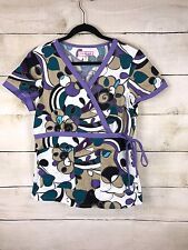 KOI by Kathy Peterson 100% Cotton Uniform Scrub Top Purple Wrap Front Medium M