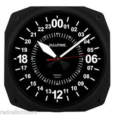"New TRINTEC 24 Hour Clock 10"" BLACK Military ZULU Time  Instrument Clock"