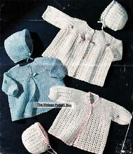 3 MATINEE COAT & BONNET SETS birth/3 months / 3ply .- baby crochet pattern