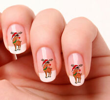 20 Nail Art Decals Transfers Stickers #514 - Reindeer Rudolph red nose Christmas