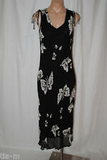 LOLA P Chiffon SHEER Rayon BEADED Black & White Butterflies long Dress Womens M