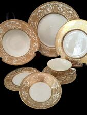NEW Royal Worcester Embassy 7 Piece Dinner Set Gold White Bone China England