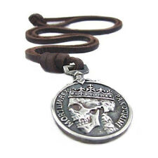 Mens Boy Great Stylish Charm Retro Silver Skull Pendant Genuine Leather Necklace