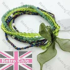 EMERALD GREEN stretch 7pcs BRACELETS peridot crystal GLASS BEADS faceted OLIVE