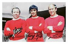 MANCHESTER UNITED - GEORGE BEST & CHARLTON & STILES SIGNED A4 PP POSTER PHOTO