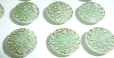 "24 Vintage 1950s Pistachio 1.4cm  ""New Mode"" Glass Buttons"