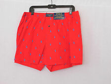 POLO RALPH LAUREN Red All Over Pony Print Cotton Woven Boxer Shorts-NEW-Size L