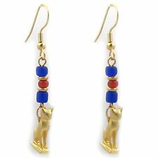 "Gold Plated Cat Amulet Charms with  Carnelian & Blue  Beads Earrings 2"" Long"