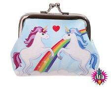 LAUREN BILLINGHAM UNICORN & RAINBOWS TIC TAC WHITE COIN CLIP WALLET PURSE NEW