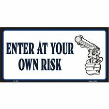 Enter At Your Own Risk Day Gun Design Vanity License Plate Car Tag