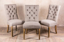 FRENCH STYLE UPHOLSTERED DINING CHAIR IN STONE WITH BUTTON BACK THE BRITTANY