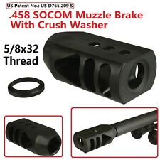 .458 SOCOM 5/8x32 TPI Tanker Style Competition Muzzle Brake,With Crush Washer
