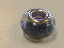 Large Hole Flower Pattern Acrylic European Bead, Purple / Black with Silver Tone