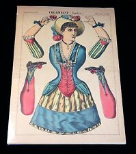 Pantin - Colombine Jumping Jacks c1860s Imagerie d'Epinal 1344 Paper Doll