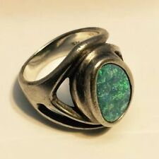 Vintage Modern Sterling Silver 925 Opal Ladies Ring Beautiful Unique Size 6 1/2