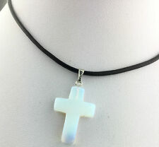 Opalite Opal Cross Crystal Quartz Genuine Leather Point Choker Necklace Gem hot