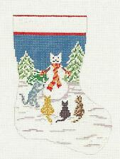 Needle Crossings 4 Cats & Snowcat Mini Stocking handpainted Needlepoint Canvas