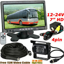 "12V-24V 4Pin Bus Truck Trailer 18LEDs IR Reversing Camera + 7"" HD LCD Monitor"