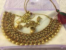 Stunning New Range Indian Bollywood Jewellery Earrings Necklace Set  Gold Pearl
