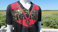 NEW M The Saints Sinphony mens t-shirt Berlin nights gold foil red rhinestones