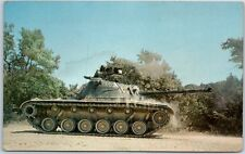 "Fort Hood, Texas Postcard ""M-48 Tank in Action"" U.S. Army Base w/ 1976 Cancel"