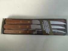 STEAK KNIFE WITH WOOD HANDLE S/S SERRATED EDGE ( 12 PER PACK ) POINTED TIP