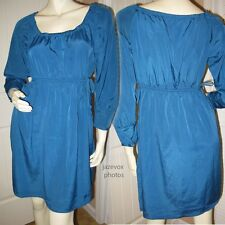NEW XHILARATION Womens TEAL Dark BLUE 3/4 Sleeve Silky SATIN DRESS Clothing M Md