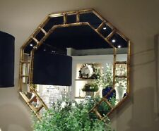 Antique Gold Iron Bamboo Octagon Wall Mirror Asian Elegant Hollywood Regency 32""