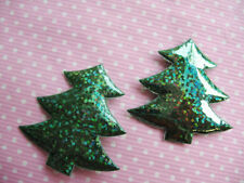 60 Padded Laser Shinny Christmas Tree Appliques/craft-Green AC011