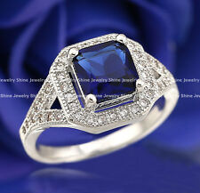 18K WHITE GOLD GF BLUE SAPPHIRE SQUARE CZ SOLITAIRE ANTIQUE WEDDING BAND RINGS