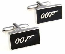 JAMES BOND 007 Silvertone/Black Enamel Metal CUFFLINKS