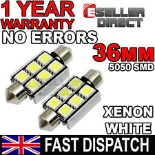 Canbus 6 SMD White 36mm LED Festoon Bulbs ,Number Plate, BMW E39, E46, E60, E90