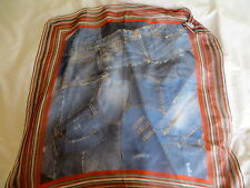 Rare!Hard to find!DOLCE & GABBANA MAINLINE DENIM PRINT SILK SCARF