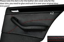 RED STITCH 2X REAR DOOR CARD TRIM SKIN COVER FITS BMW E46 SALOON 98-05