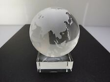 """Fine Crystal World Globe W/ Stand Sculpture HEAVY 4"""" TALL EARTH"""