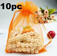 10PCs Orange Organza Bag Pouch For Jewellery Holidays Wedding X'mas Gift 10PC
