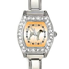 Parson Jack Russell Terrier CZ Ladies Stainless Steel Italian Charm Watch BJ1023