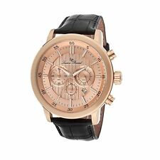 NEW Lucien Piccard 12011-RG-09 Men's Monte Viso Chronograph Rose Gold Dial Watch