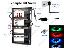 4x 25cm COLOUR CHANGING LED STRIP LIGHTING GLASS CABINET SHELF DISPLAY LIGHT KIT