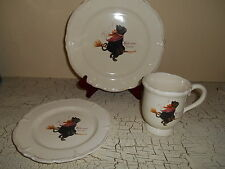 12pc MAGENTA Halloween Black Cat Witch On Broom Plates & Mugs