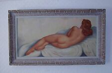 LARGE OIL PAINTING FEMALE NUDE RECLINING CONTEMPORARY SIGNED circa 1950s