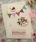 Large Handmade Personalised Christening Card - Bunting & Owls for Girl or Boy ♥♥