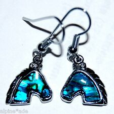 LOVELY NEW ABALONE PAUA SHELL WESTERN HORSE EQUESTRIAN EARRINGS #E7
