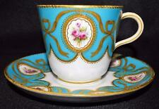 Antique~Minton~Turquoise Cup & Saucer~Hand Painted Enamel~Gold Gilt~c1860