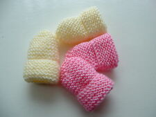 BABY GIRLS HAND KNITTED MITTENS, 2 PAIRS -  LEMON & PINK CANDYFLOSS, 0-3M, NEW
