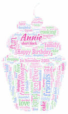 Personalised Cup Cake Word Art print - Christmas or Birthday Gift