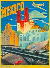 Mexico Mexican Cars Freeway Air Vintage Travel Advertisement Art Poster