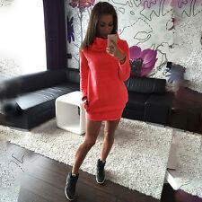 Womens Long Sleeve Pullover Sweater Jumper Bodycon Mini Hoodies Winter Dress
