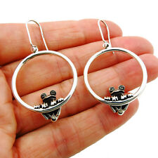 Designer Solid Sterling 925 Silver Frog Circle Hoops Earrings